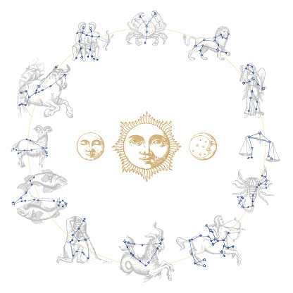 Zodiac constellations with drawn astrological symbols in engraving style. Vector horoscope signs with Sun,Moon,Crescent.