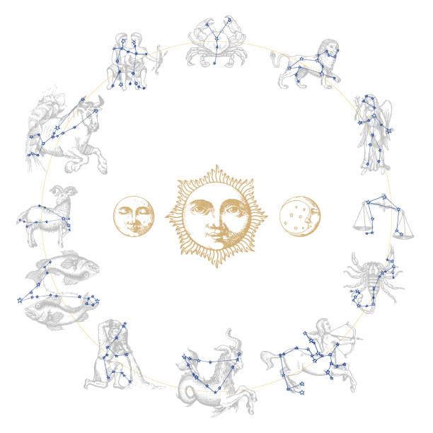 ilustrações de stock, clip art, desenhos animados e ícones de zodiac constellations with drawn astrological symbols in engraving style. vector horoscope signs with sun,moon,crescent. - astrologia