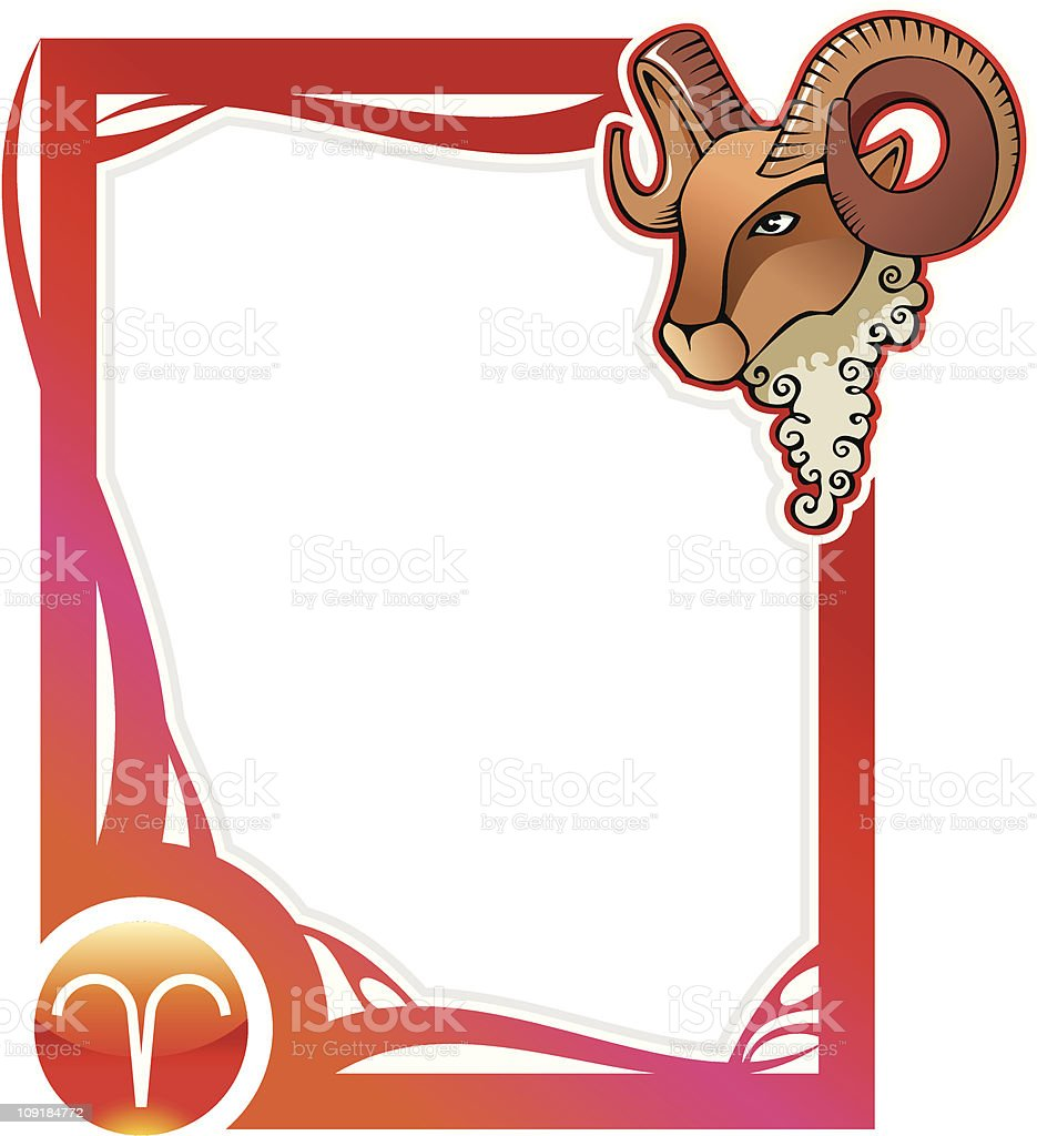 Zodiac frame series: Aries royalty-free stock vector art