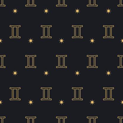 Zodiac Gemini seamless pattern background
