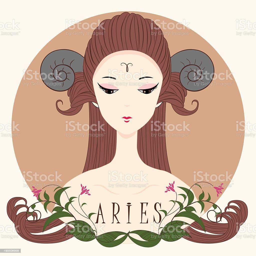 Dziewczyna Aries Zodiaka – artystyczna grafika wektorowa