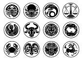 Zodiac horoscope astrology star signs icon set