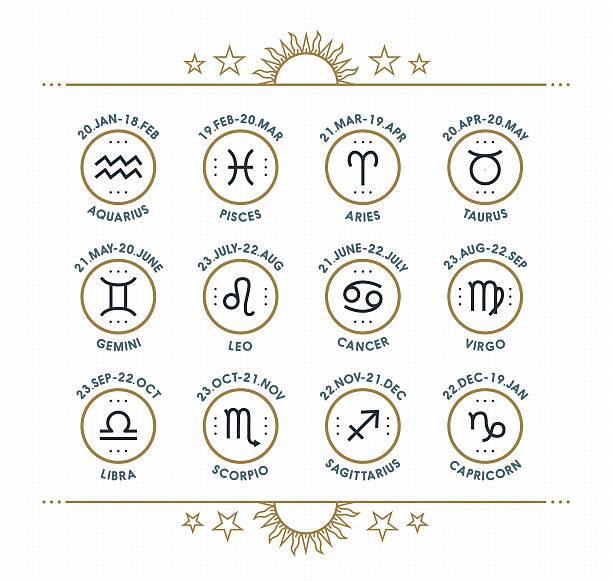 ilustrações de stock, clip art, desenhos animados e ícones de ícone do zodíaco colecção. coleção de vetores. - astrologia