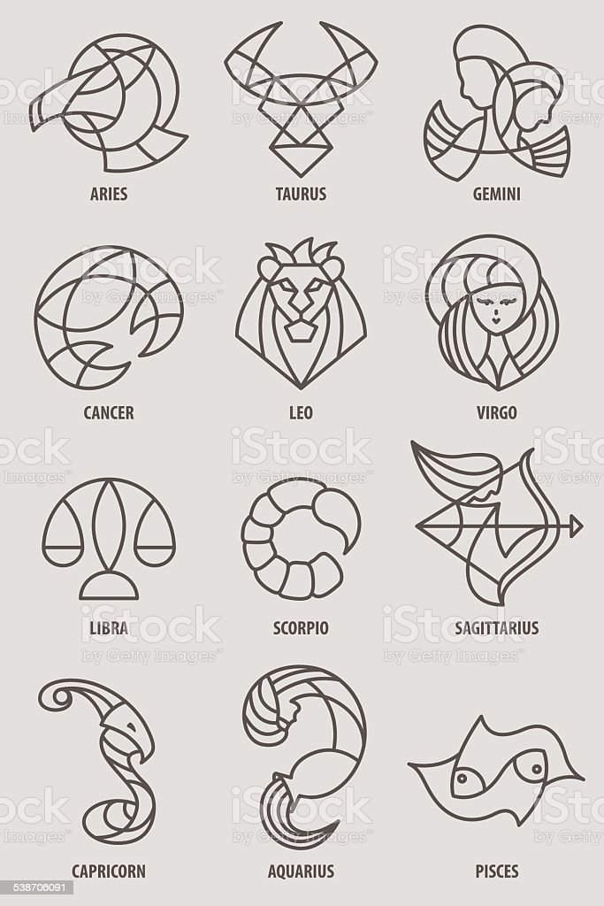Zodiac Icon Series Stock Vector Art More Images Of 2015 538706091