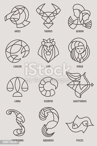 A collection of zodiac line drawings or icons. Representing astrology symbols; Aries, Taurus, Gemini, Cancer, Leo, Virgo, Libra, Scorpio, Sagittarius, Capricorn, Aquarius, and Pisces.