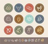Illustration of zodiac icon set on the background.