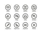 Zodiac icon set with geometric style vector illustration