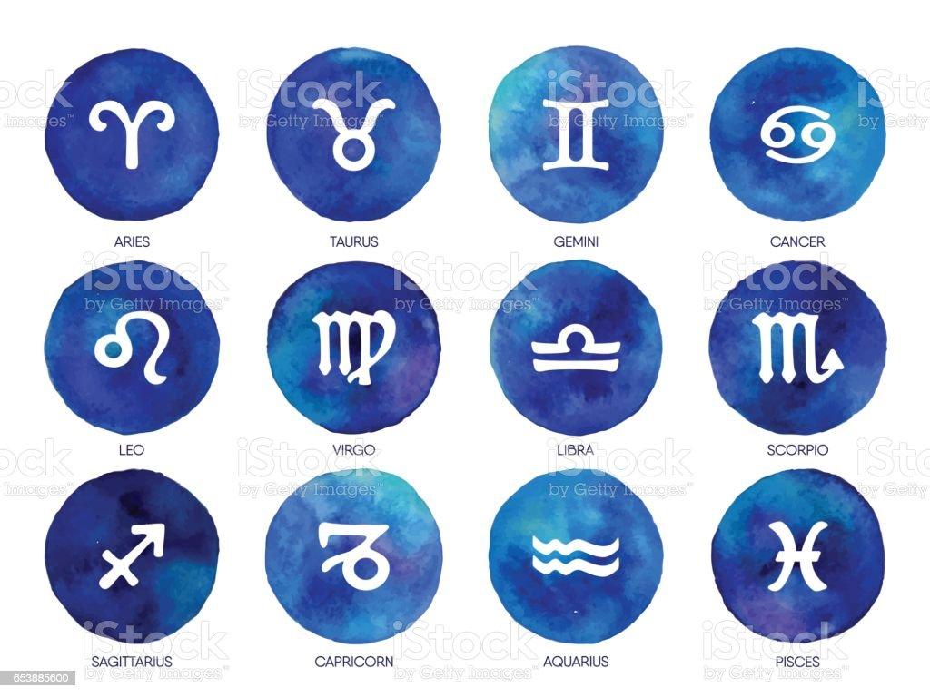 Icônes du zodiaque. Tirage Dessin à main levée. - Illustration vectorielle