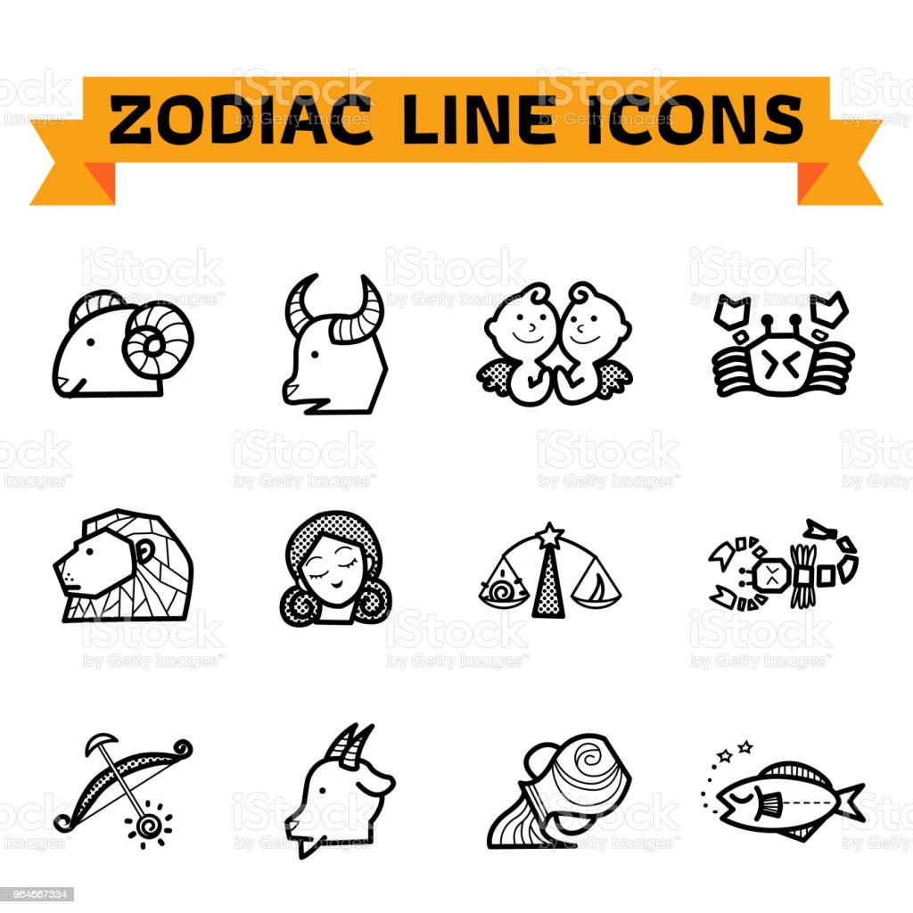 Zodiac Line Icons royalty-free zodiac line icons stock vector art & more images of animal