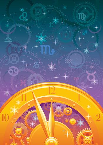 Zodiac midnight clock background