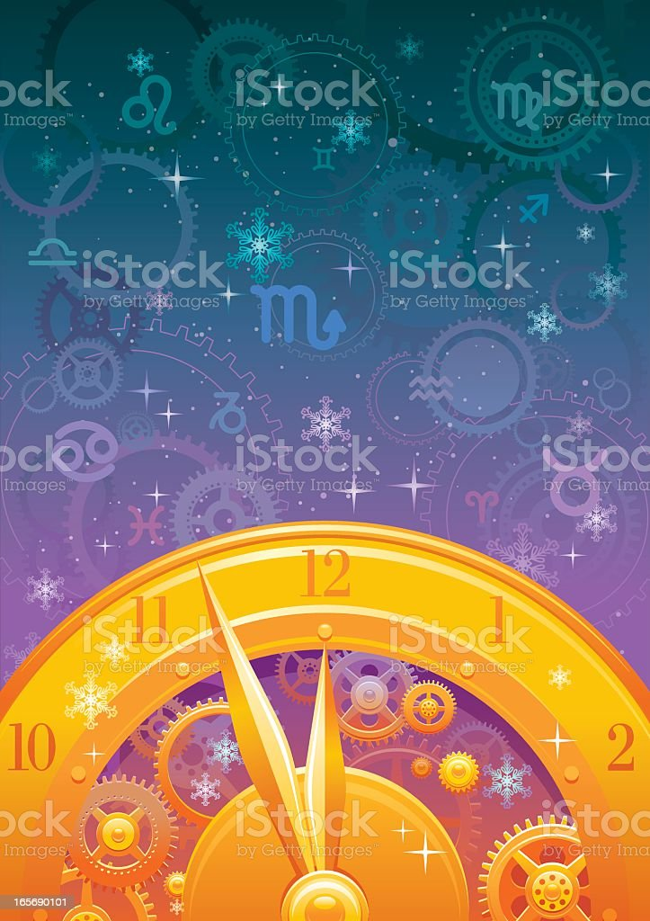 Zodiac midnight clock background vector art illustration