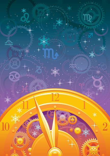Zodiac midnight clock background vector art illustration