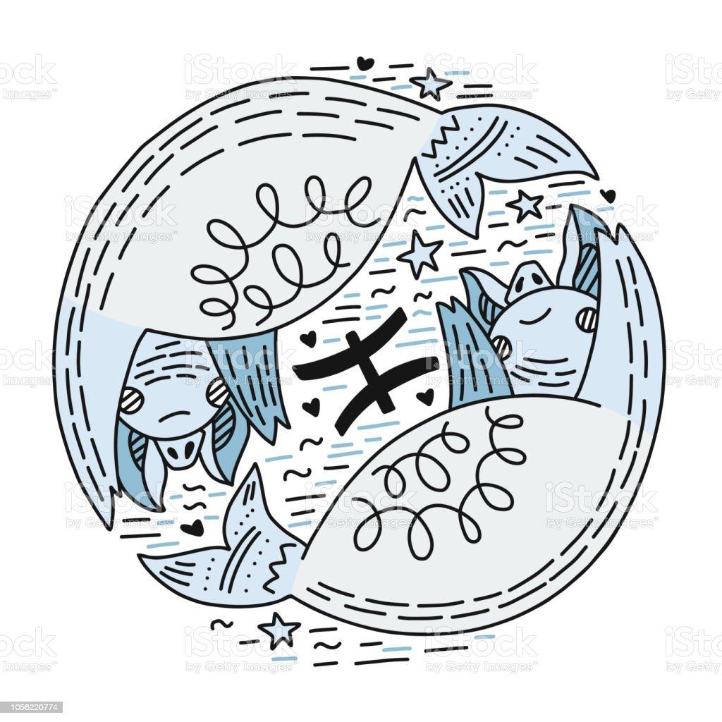 Calendrier Du Zodiaque.Poissons Signes Du Zodiaque Vecteurs Libres De Droits Et
