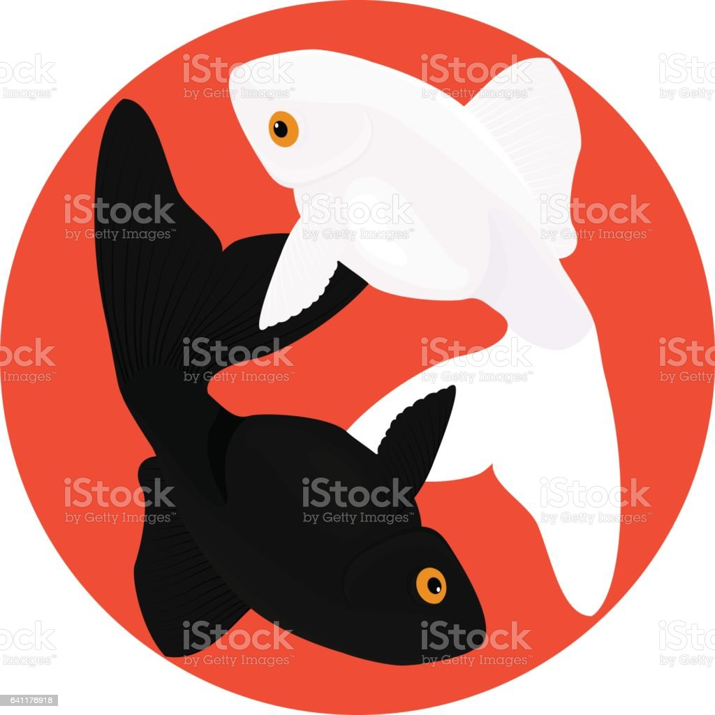Zodiac Pisces Two Fish Symbol Of Yin And Yang Stock Vector Art