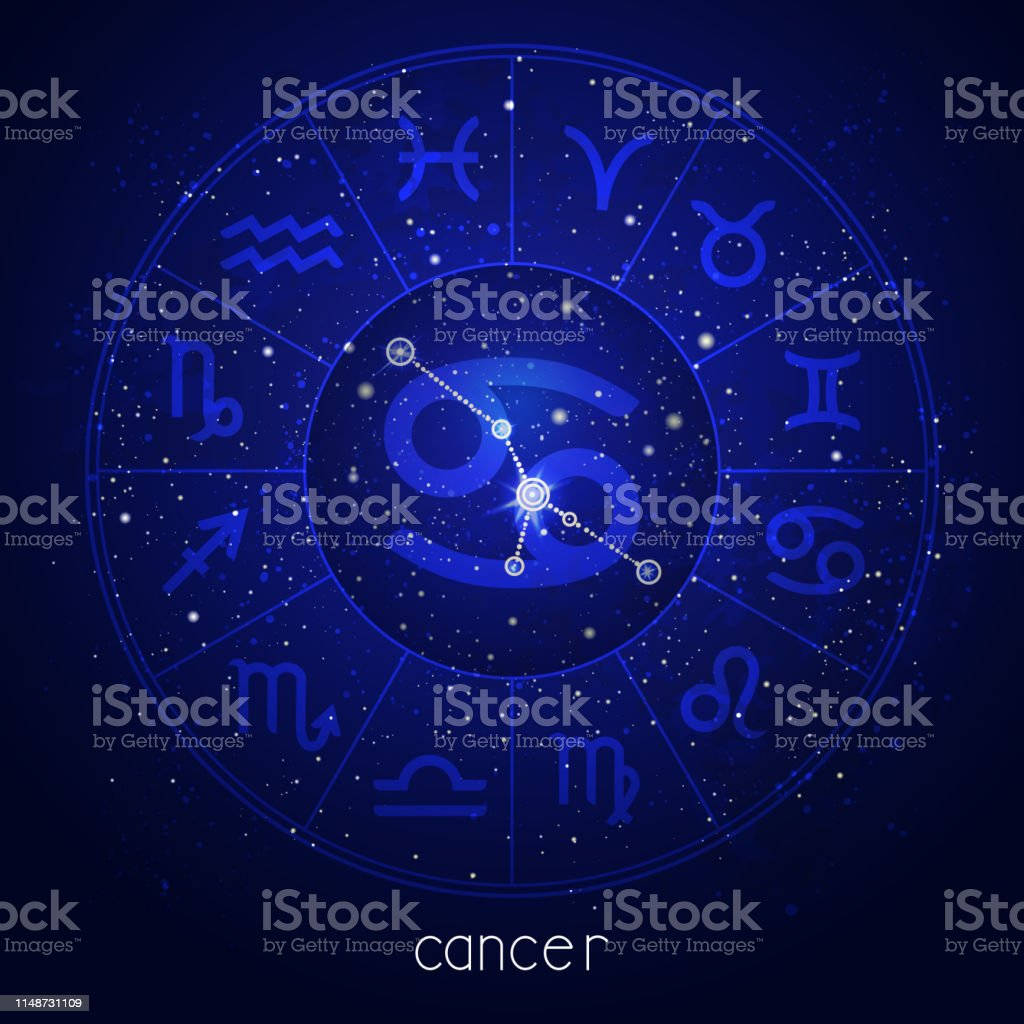 Zodiac Sign And Constellation Cancer With Horoscope Circle Stock