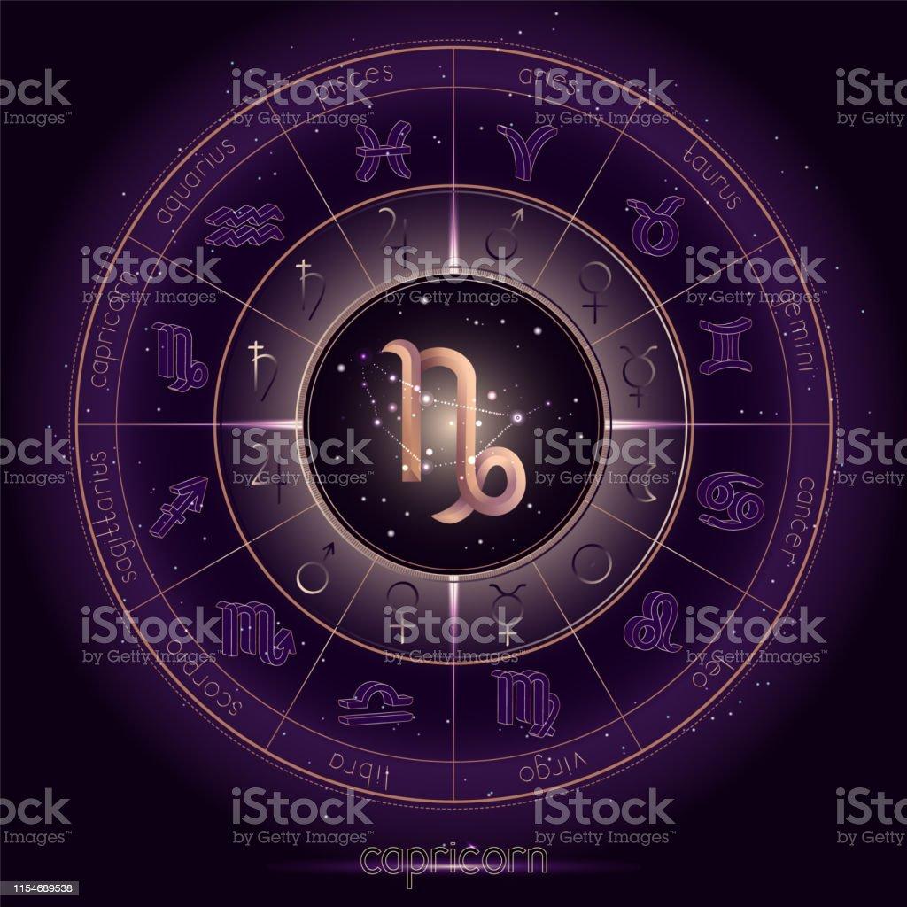 Sternzeichen Und Sternbild Capricorn Mit Horoskopkreis Auf Dem ...