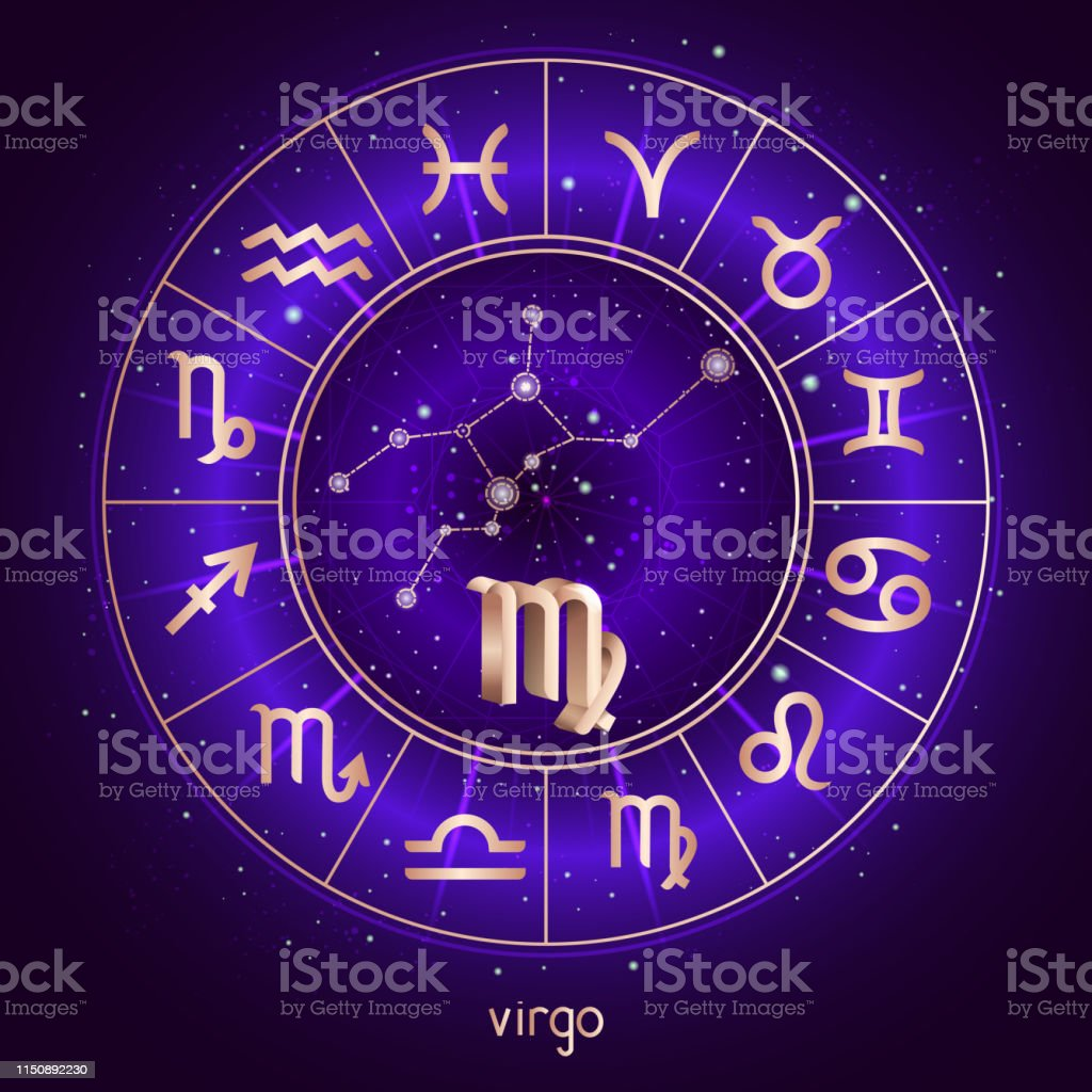 Zodiac Sign And Constellation Virgo With Horoscope Circle
