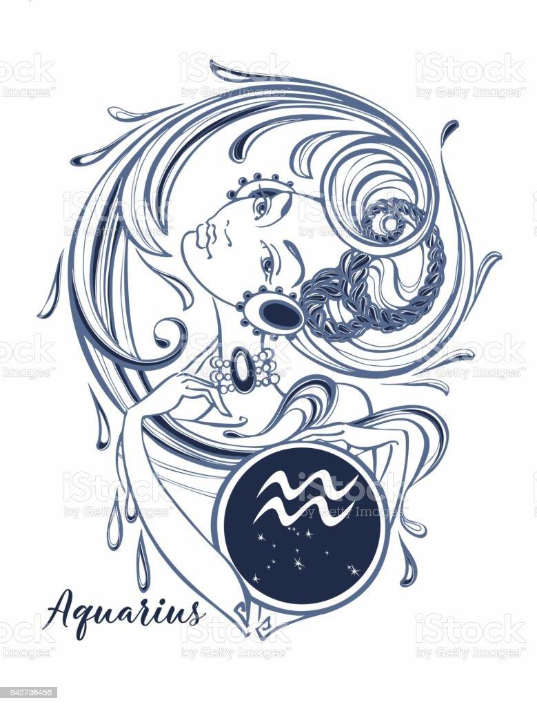 Zodiac sign Aquarius a beautiful girl. Horoscope. Astrology.  Vector - ilustração de arte vetorial