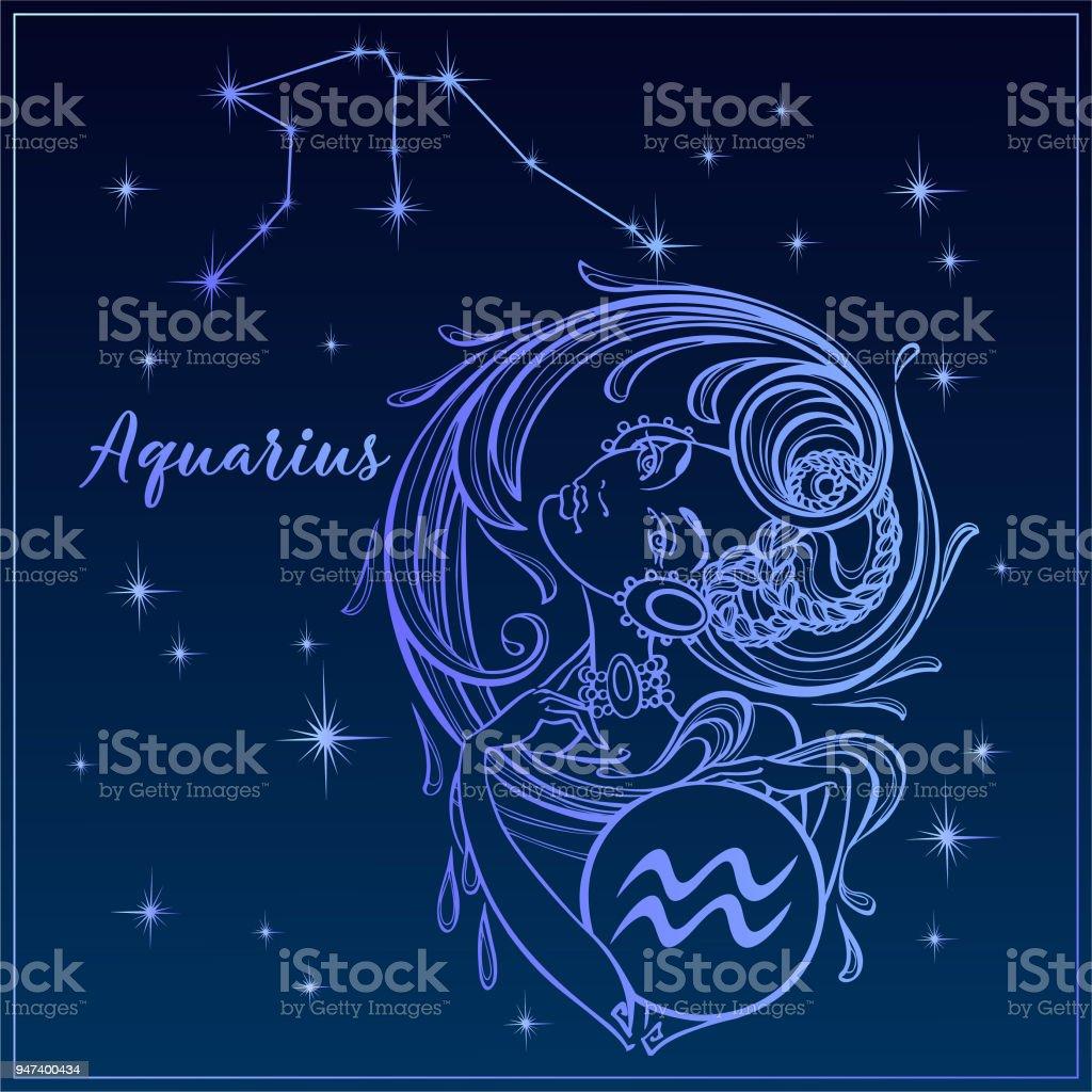 Signe Du Zodiaque Verseau Comme Une Belle Jeune Fille La