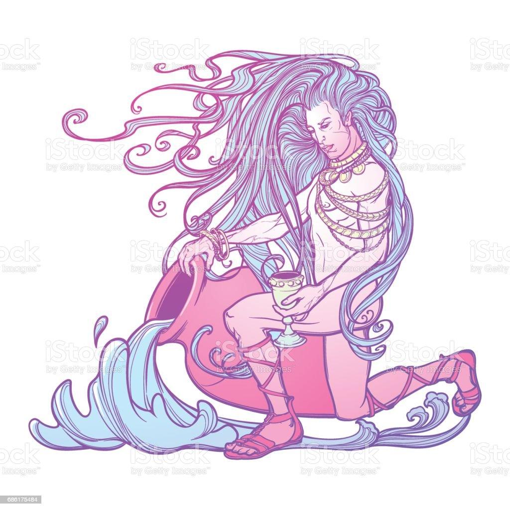 Zodiac sign Aquarius. Beautiful young man with long hair holding large amphora. vector art illustration