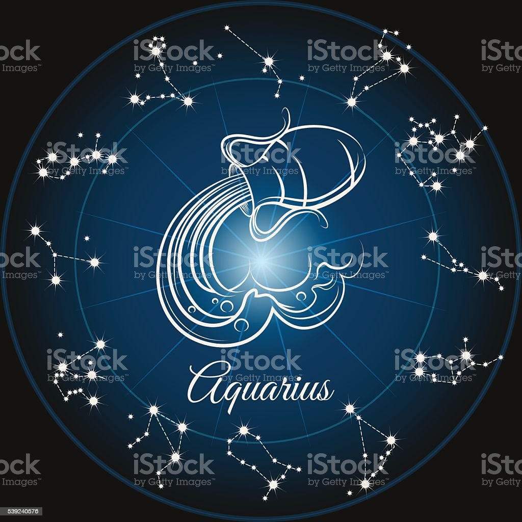 Zodiac sign aquarius vector art illustration