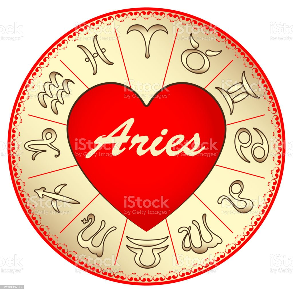 Zodiac Sign Aries For Lovers On Valentines Day Vector Illustration