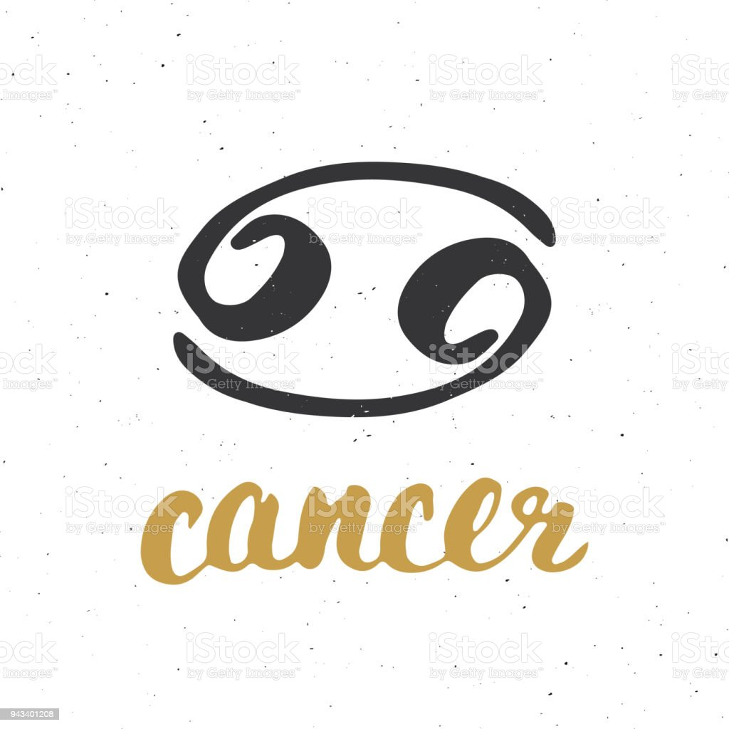 Zodiac Sign Cancer And Lettering Hand Drawn Horoscope Astrology