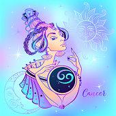 Zodiac sign Cancer beautiful girl. Horoscope. Astrology.
