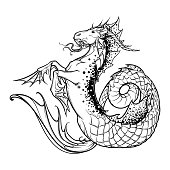 Zodiac sign Capricorn. Fantastic sea creature with body of a goat and a fish tail. Vintage art nouveau style concept art for horoscope, tattoo or colouring book. EPS10 vector
