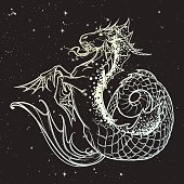 Zodiac sign Capricorn. Fantastic sea creature with body of a goat and a fish tail. Vintage art nouveau style concept art for horoscope, tattoo. Night sky starry background. EPS10 vector