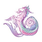 Zodiac sign Capricorn. Fantastic sea creature with body of a goat and a fish tail. Vintage art nouveau style concept art for horoscope or tattoo. EPS10 vector