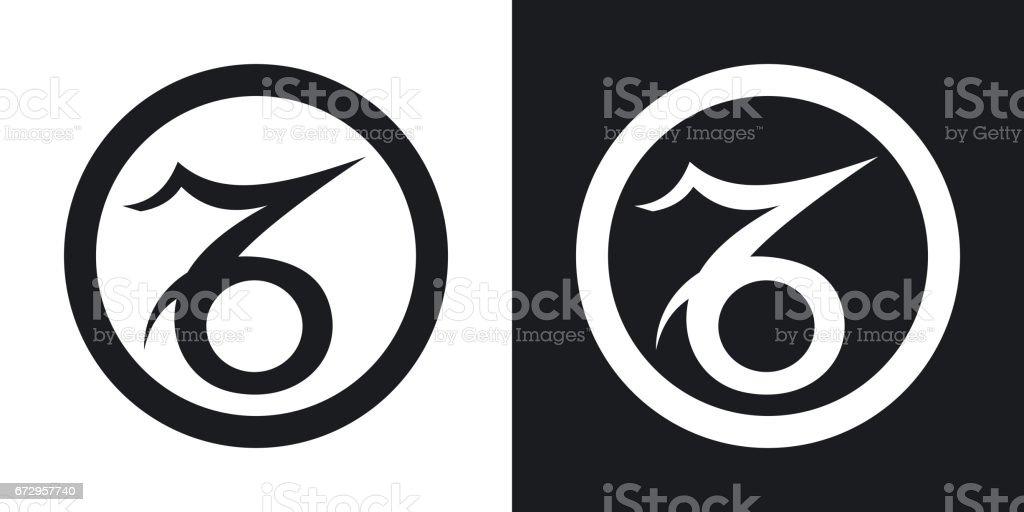 Zodiac Sign Capricorn Twotone Version On Black And White Background