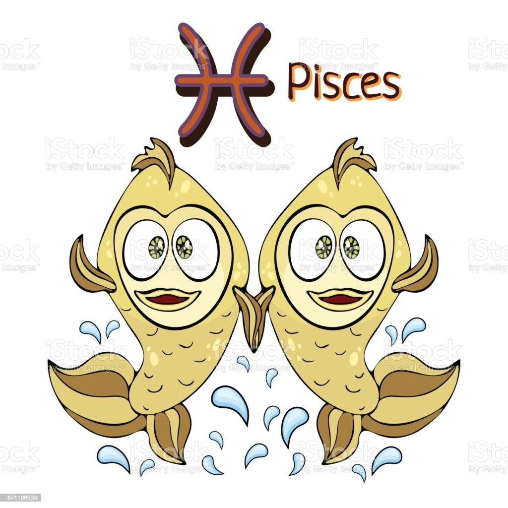 Sternzeichen Cartoon Fische Astrologischen Zeichen Handzeichnung ...
