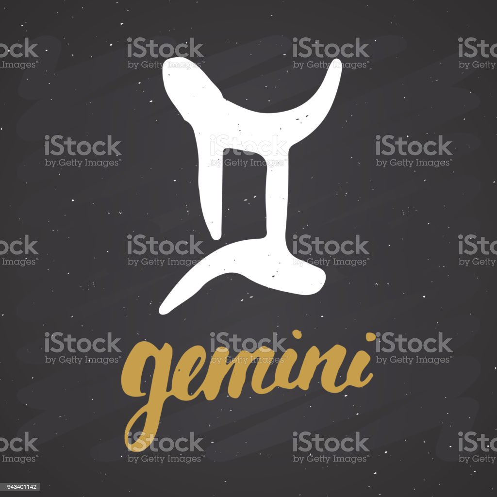 Zodiac Sign Gemini And Lettering Hand Drawn Horoscope Astrology Symbol Grunge Textured Design