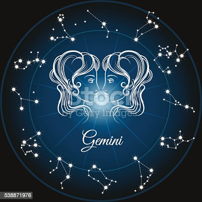 Zodiac sign gemini and circle constellations. Vector illustration