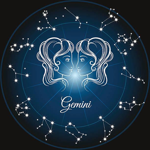 illustrazioni stock, clip art, cartoni animati e icone di tendenza di segno dello zodiaco gemini - gemelle