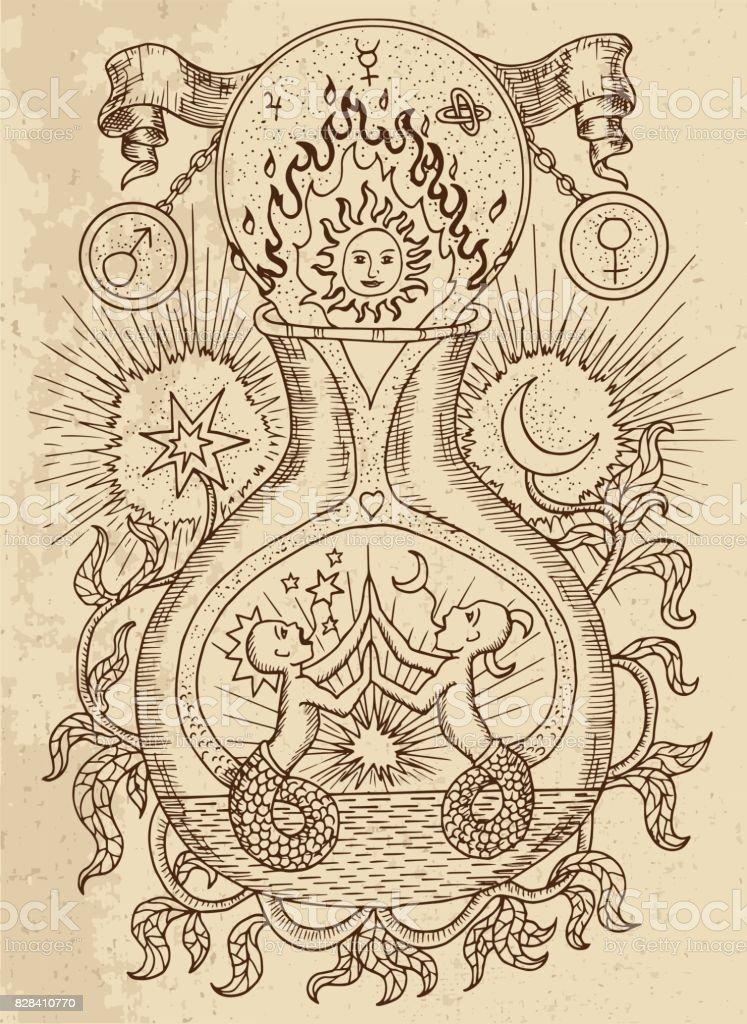 Signo de gêmeos com a lua e o sol na textura - ilustração de arte em vetor