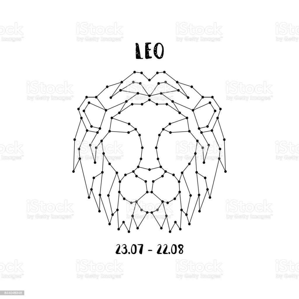白い背景に分離されたレオの星座。チラシやグリーティング カード、エンブレムのデザイン要素です。ベクトル占星術記号。 ベクターアートイラスト