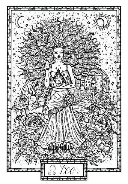 牡丹の花とラッキー ナンバー星座ライオンやレオ ベクターアートイラスト