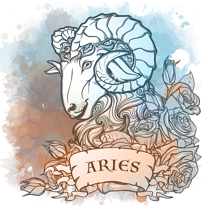 Zodiac sign of Aries, element of Fire. Intricate linear drawing on watercolor textured background.