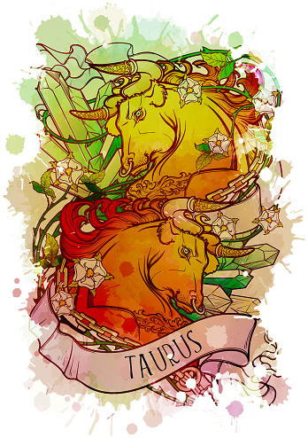 Zodiac sign of Taurus, element of Earth. Intricate linear drawing on watercolor textured background.