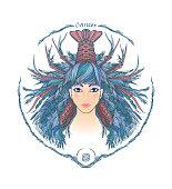 Zodiac sign. Portrait of a woman. Cancer