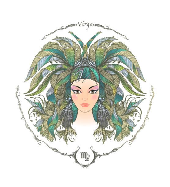 Zodiac sign. Portrait of a woman. Virgo vector art illustration