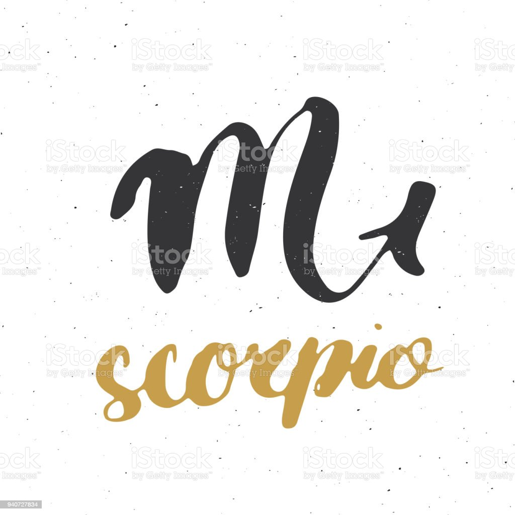 Zodiac Sign Scorpio And Lettering Hand Drawn Horoscope Astrology