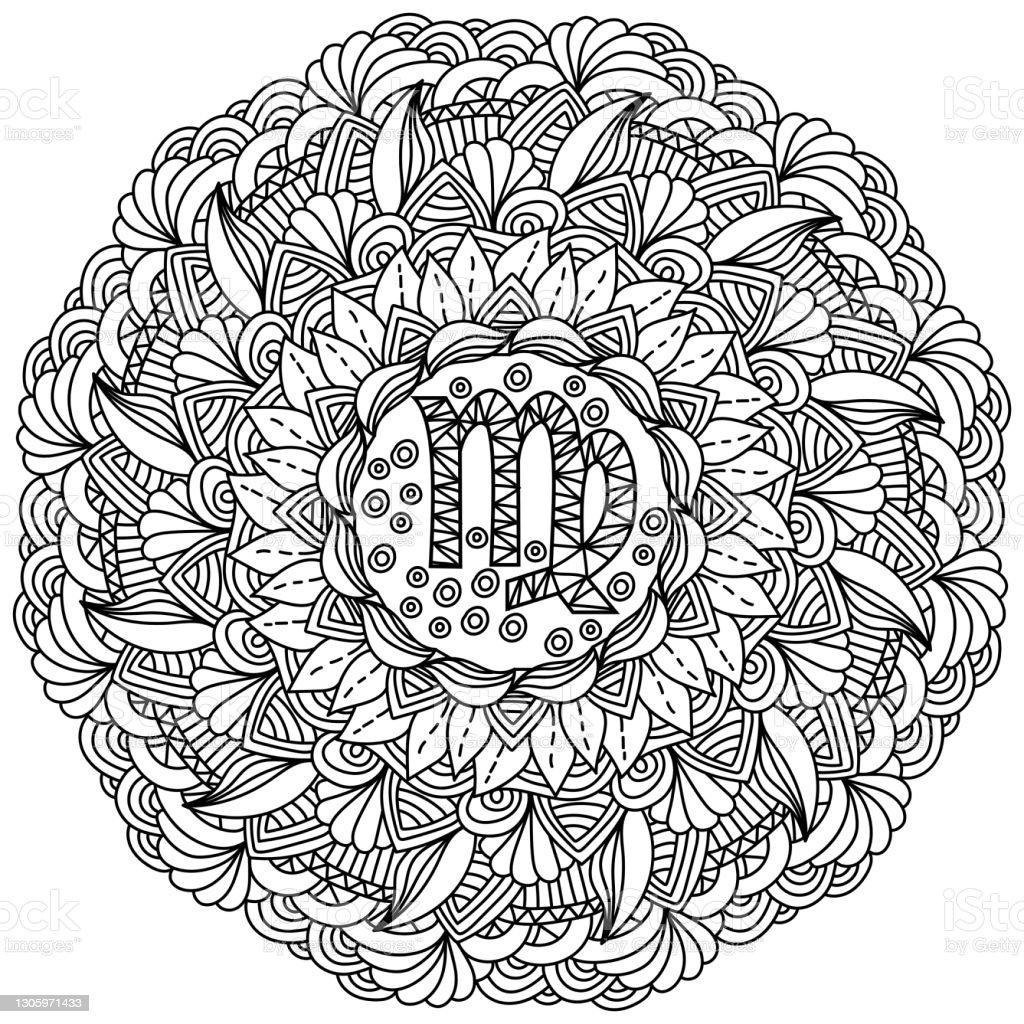 Zodiac Sign Virgo Mandala Meditative Coloring Page With Ornate
