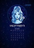 Zodiac signs 2020 calendar, Sagittarius girl, vector illustration