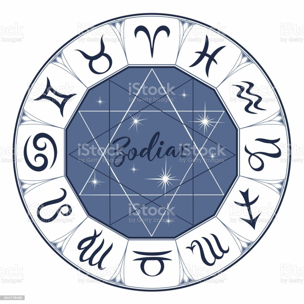 Zodiac Signs Astrological Symbol Horoscope Astrology Mystical Vector