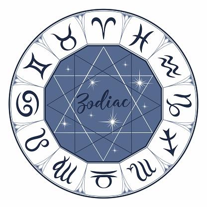 Zodiac. Signs. Astrological symbol. Horoscope. Astrology. Mystical. Vector
