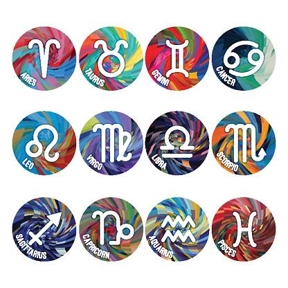 Zodiac signs, astrology symbols, cartoon horoscope on white