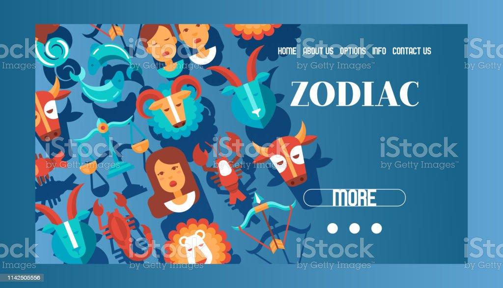 Zodiac Signs Banner Web Design Vector Illustration Horoscope